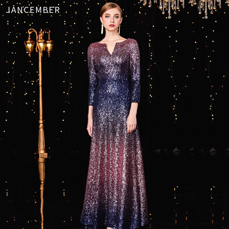 JANCEMBER Shinning Robe De Cocktail Pour Mariage Scoop A-Line Three Quarter Floor-Length Simple Latest Women Vestido Coctel