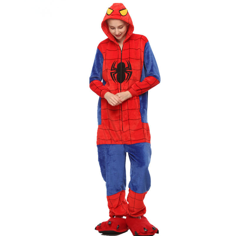 2019 Marvel Spider Man Animal Pajamas Winter warm Sleepwear robe cartoon cosplay pijamas unisex adults flannel Onesies women set