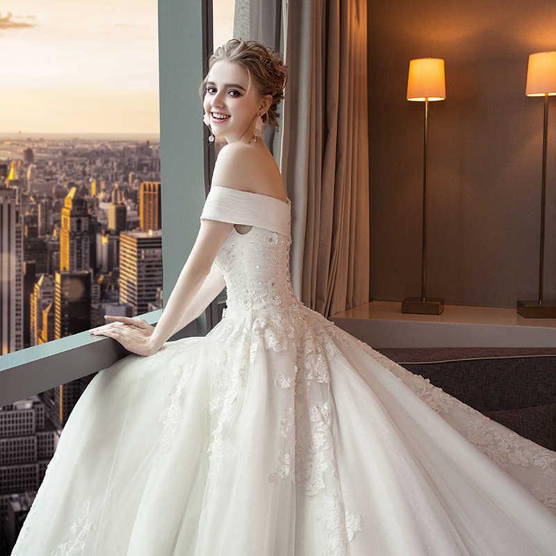 Fansmile роскошное свадебное платье с длинным шлейфом Vestido De Noiva, кружевное свадебное платье 2019, подгонянное по индивидуальному заказу размера плюс, свадебные платья, свадебное платье FSM-491T