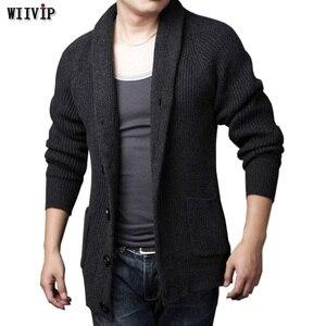 WIIVIP jesień zima swetry męskie w dużych rozmiarach plus aksamitna pełna rękaw ciepłe kamizelka mężczyzna dorywczo zagęścić dzianiny wąski sweter YW020