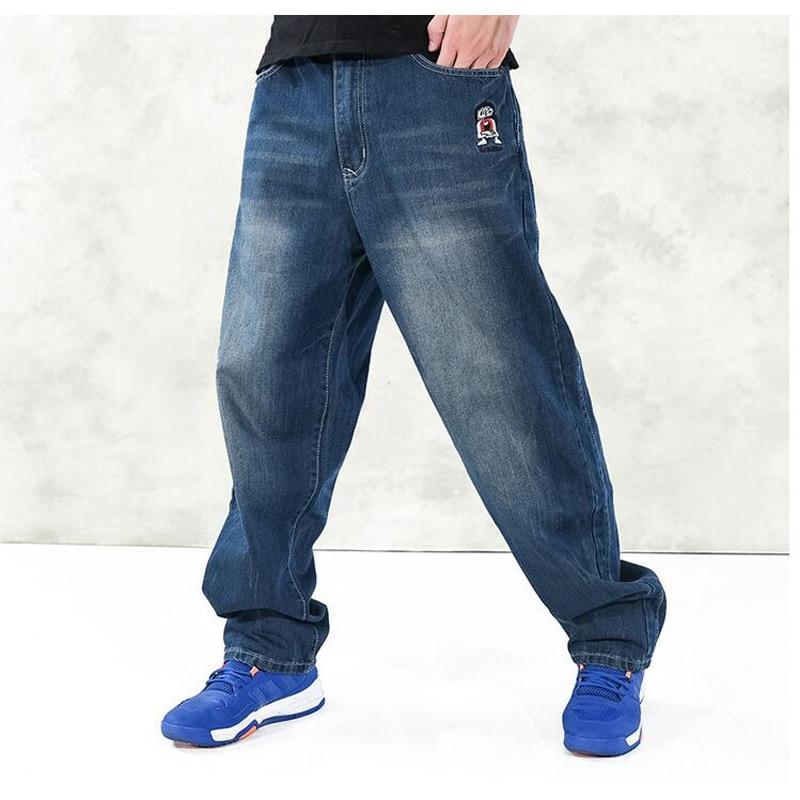 ФОТО Men's  Baggy Jeans Hip Hop Designer Brand Skateboard Pants loose Style Plus Size 30-46  HipHop Rap Jeans Boy Trousers