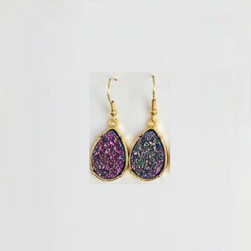 9 Colors Drusy Dangle Earrings Waterdrop Tear Imitation Crystal Stone Druzy Earings Gold Brand Jewelry for
