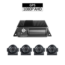 4CH AHD GPS Truck Mobile DVR with 4pcs 2.0MP Side Cameras 1080P Cycle Recording I/O Alarm Delayed Shutdown for Vehicle Security