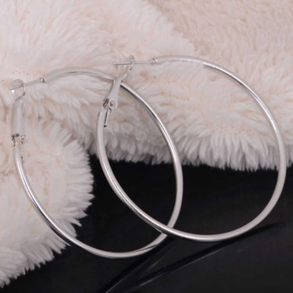 Boho tarzı Vintage alaşım gümüş/altın renk yuvarlak döngü Hoop küpe parti takı kişilik süper büyük daire küpe