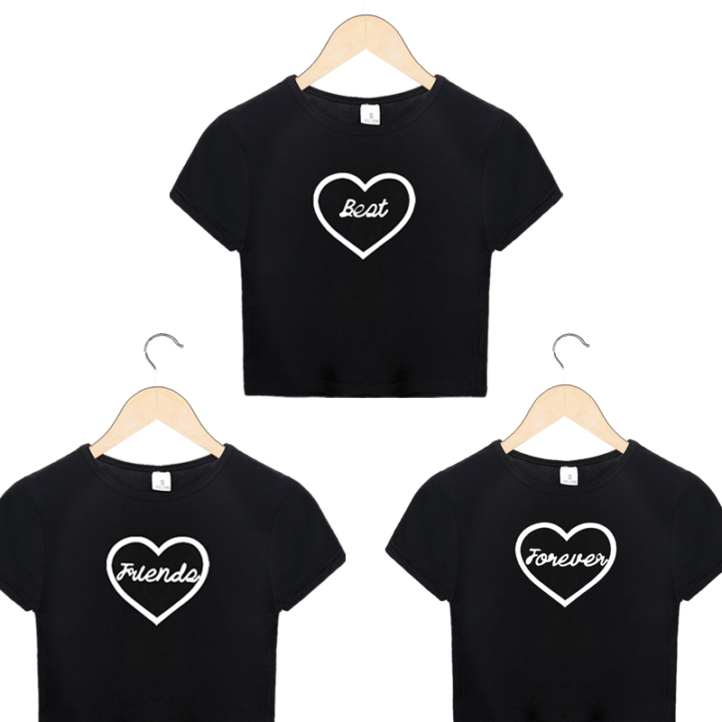 Harajuku Street Round Neck Best Friends Forever Heart Print Cropped Tumblr T Shirts Fashion Sleeve Kawaii Shirt Sexy Female Top