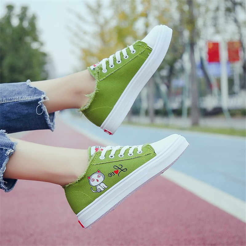 Canvas schoenen vrouwelijke kleine witte schoenen 2019 lente nieuwe platte toevallige vrouwen schoenen platform platte schoenen vrouwen zapatos de mujer