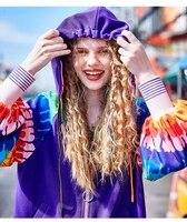 New Ulzzang Harajuku Spring Romantic Purple Hooded Rainbow Jacket Female Fashion Baseball Jacket