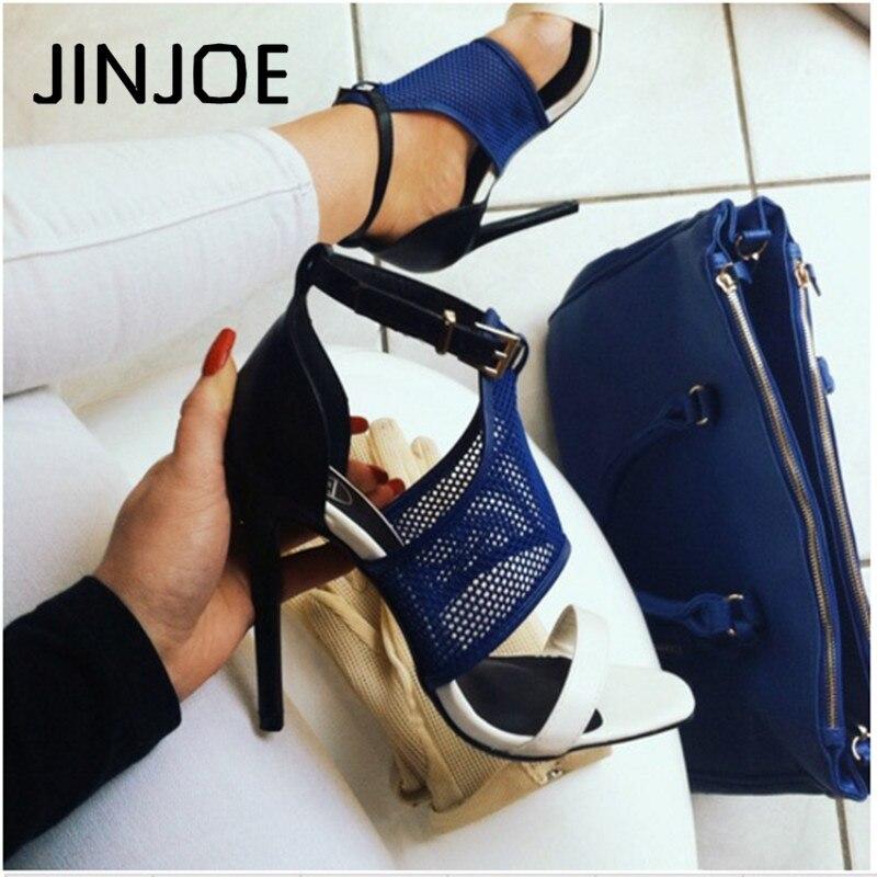 """JINJOE נשים משאבות טו פיפ צלב קשור גבוהה עקבים חתונה גברת נעלי אבזם רצועת סקסי דק עקבים סנדלי zapatos דה mujer 11 ס""""מ"""