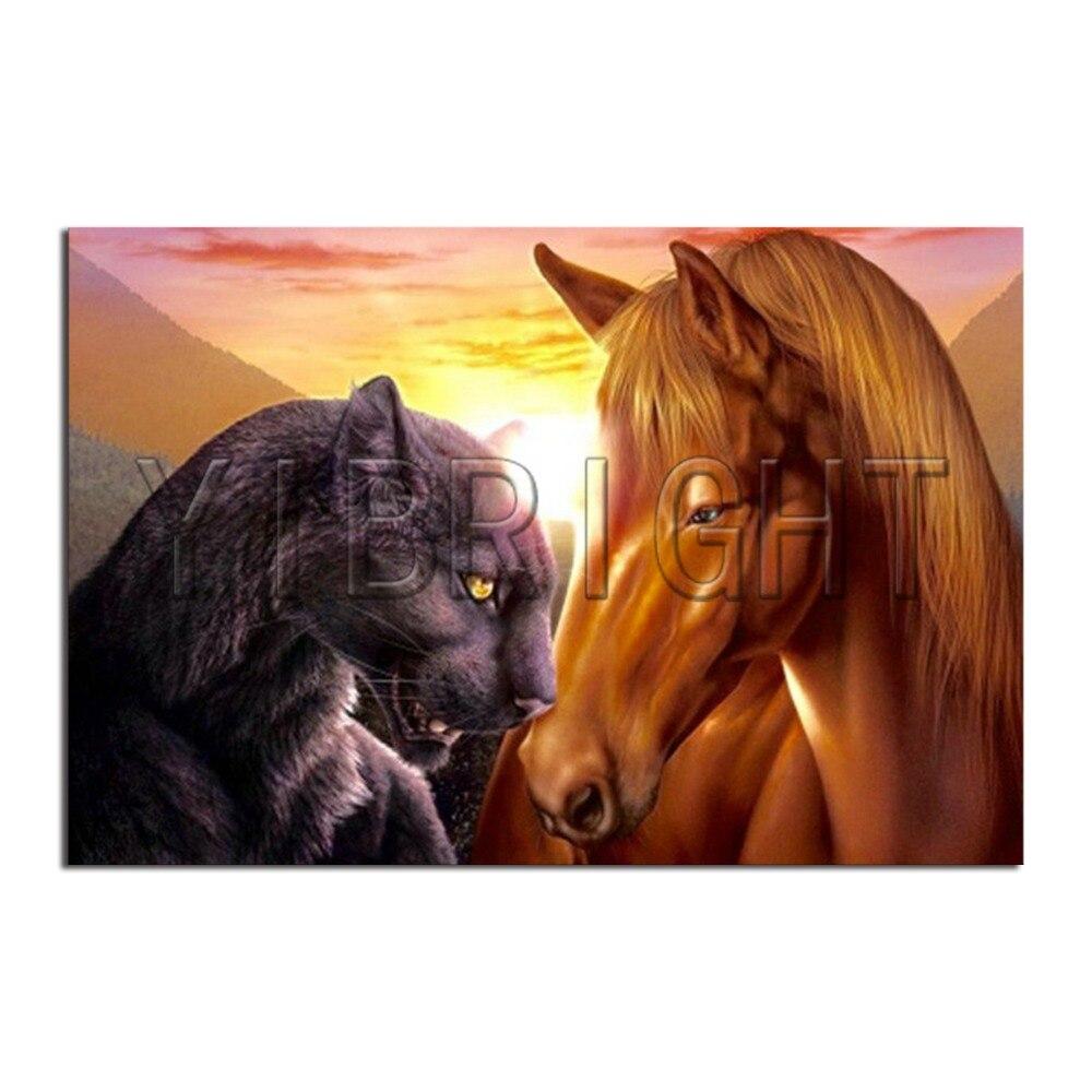 5D DIY Diamond Painting Cross Stitch Horse And Leopard Full Square Diamond Embroidery Rhinestone Mosaic Sunset Landscape
