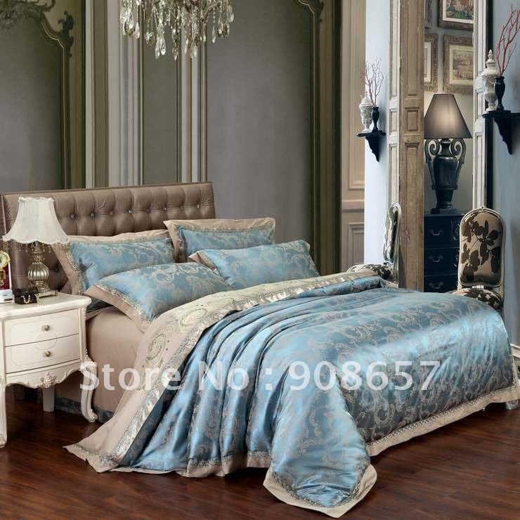 blue camel Satin Cotton Fabric luxurious Jacquard Embroidered Duvet Covers  set for Queen or King comforter. Compare Prices on Luxury Comforter Sets Queen  Online Shopping Buy