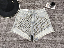 Summer Shorts Women Rivet Denim High Waist Slim Fashion Vintage With Pocket Sexy Short Feminino Streetwear