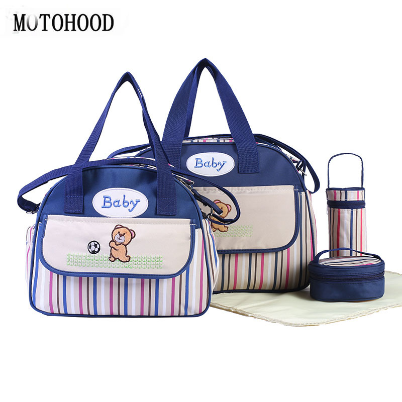 MOTOHOOD 5pcs Striped Baby Diaper Bag Baby Care Nappy Bag Stroller Handbags For Moms Organizer Baby Carriage Bag 40*15.5*30cm