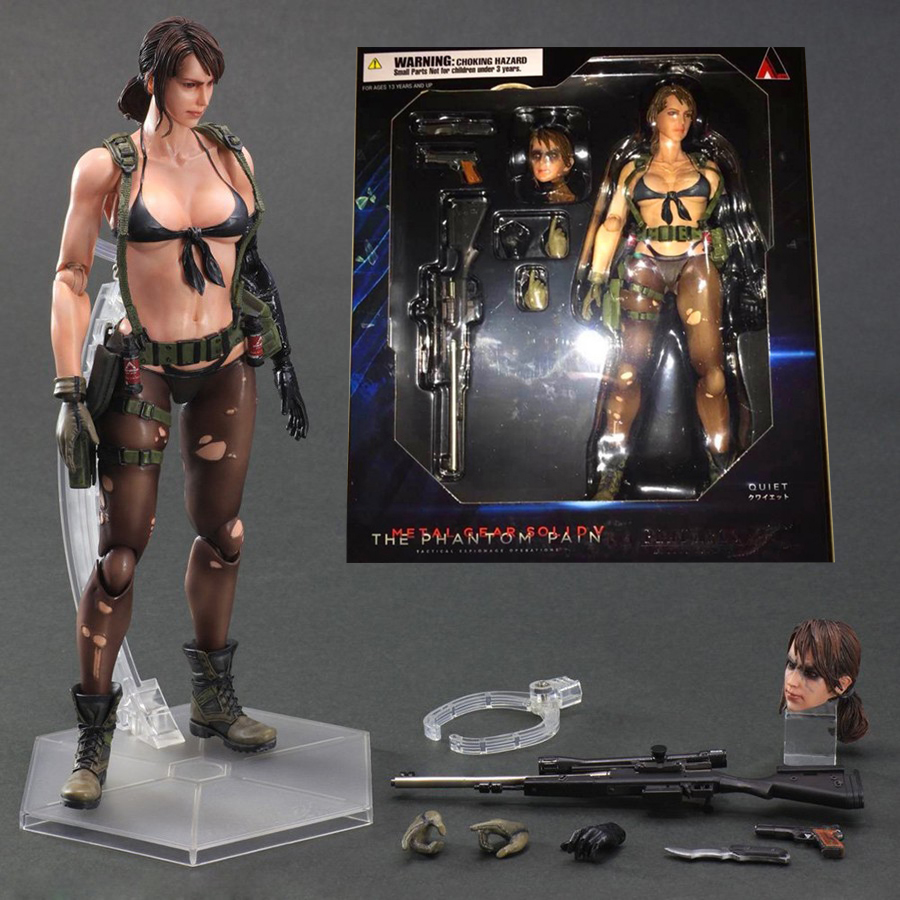 25cm Play Arts Kai Metal Gear Solid 5 The Phantom Pain Quiet Venom Snake PA PVC Action Figure Doll Toys Kids Gift Brinquedos 25cm play arts kai metal gear solid 5 the phantom pain quiet venom snake pa pvc action figure doll toys kids gift brinquedos