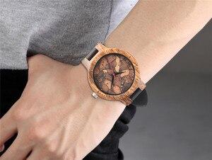 Image 5 - Élégant Les Feuilles Mortes motif visage bois montres pour hommes et femmes Vintage artisanal en bois mâle femelle quarzt watch cadeau