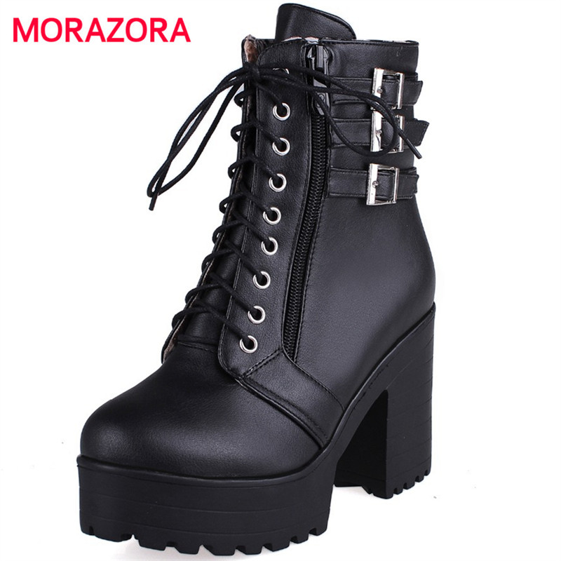 MORAZORA Autumn comfortable platform high heel ankle boots fashion round toe zip buckle solid PU leather womens boots nika veresk in the shadow of the stolen light page 9