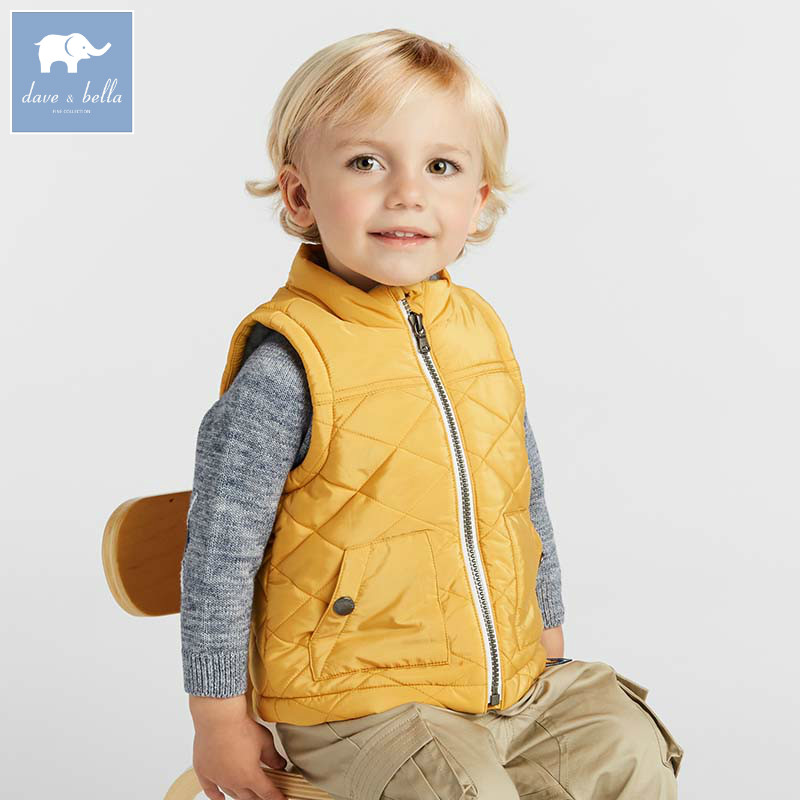 DBA7792 dave bella boys autumn winter padding vest children sleeveless coat baby fashion high quality outerwear