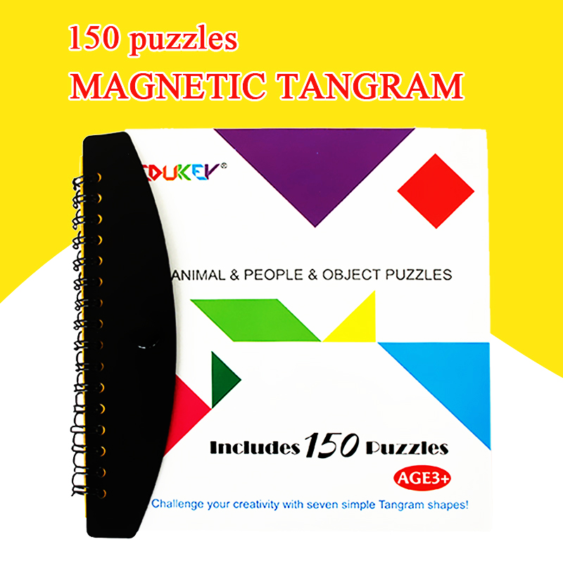 Hot 150 Puzzles Magnetic Tangram Kids Toys Challenge Your IQ A Montessori Educational Magic Book Suit For 3-100 Years Hobby Gift