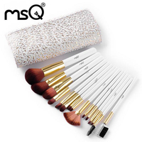 MSQ Brand Promotion Professional Makeup Brushes Set 15pcs With High Quality Synthetic Hair PU Leather For