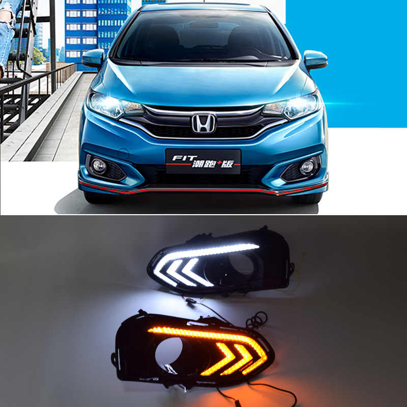 qinyi  For Honda Fit 2014 2015 2016 DRL Driving Daytime Running Light DRL fog lamp Relay Daylight styling free shipping