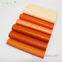 6pcs--- 20x22cm Orange Color Mix PU Synthetic Leather Set