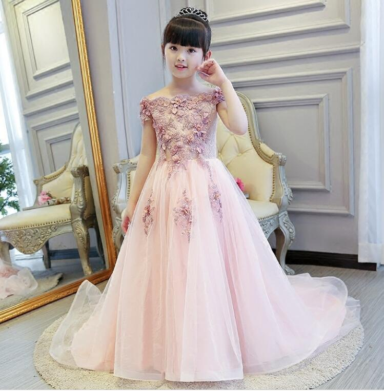 Pink Girls Shoulderless Wedding Dress Long Trailing Party Tulle Princess Birthday Dress Christmas Gown First Communion Dresses