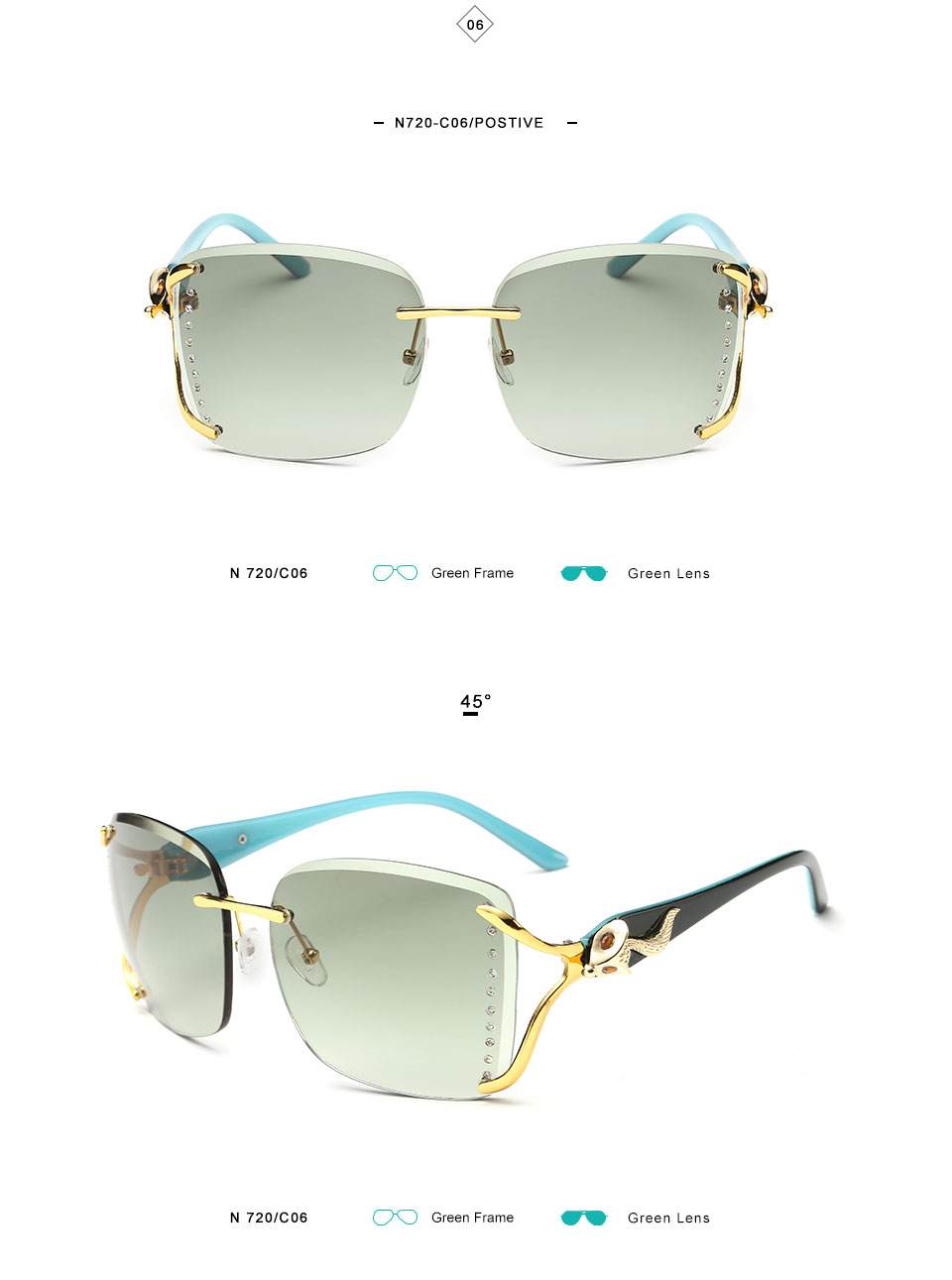 KINGSEEVEN Elegant Female Sunglasses Large frame fox decorated with diamond decoration Brand Designer Women's Glasses Feminine 10