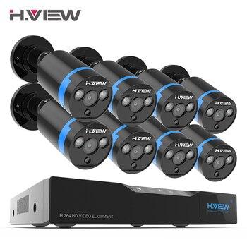 H. View 16CH système de Surveillance 8 1080 P caméra de sécurité extérieure 16CH CCTV DVR Kit vidéo Surveillance iPhone Android vue à distance