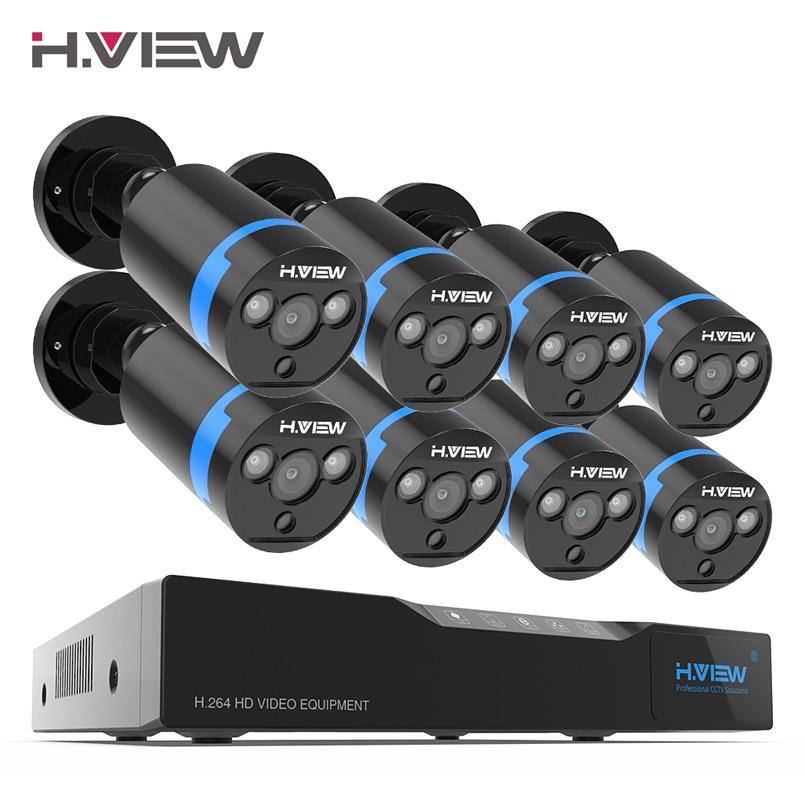 H. view 16ch sistema de vigilância 8 1080 p ao ar livre câmera de segurança 16ch cctv dvr kit de vigilância por vídeo iphone android vista remota