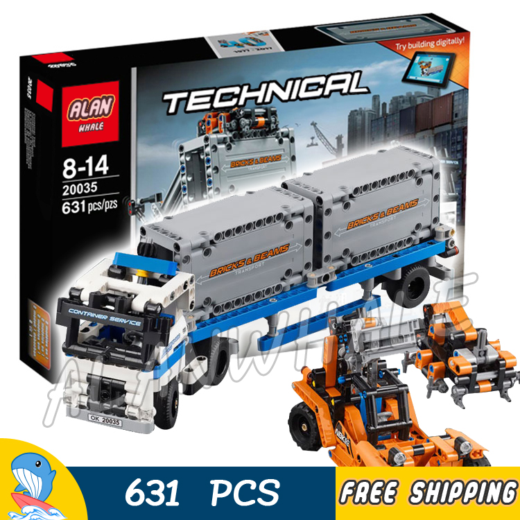 631pcs 2in1 Technic Container truck and loader Straddle-Carrier Yard 20035 Model Building Kit Blocks Toys Compatible With lego 2793pcs technic remote controlled arocs truck 20005 building kit 3d model blocks minifigures toys bricks compatible with lego