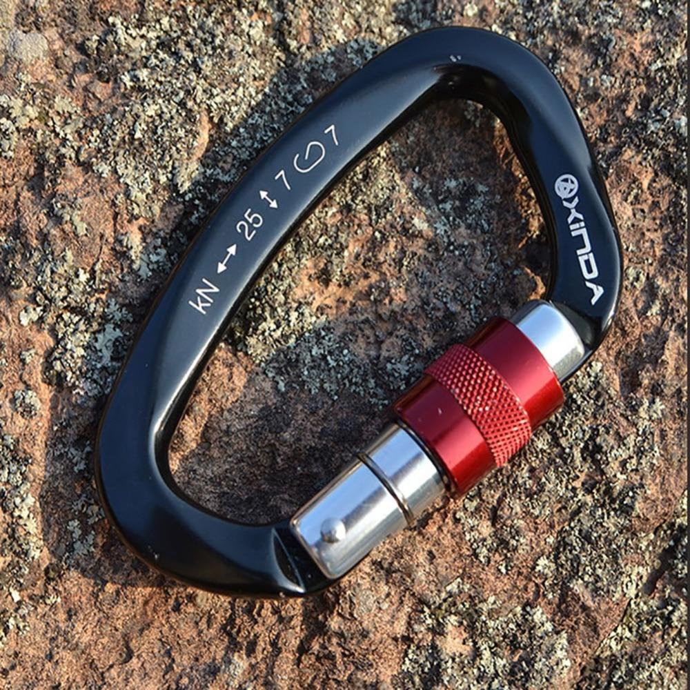 25KN Professional Carabiner D Shape Safety Master Lock Outdoor Rock Climbing Buckle Equipment solid fine steel oval lock rock climbing carabiner safety bearing
