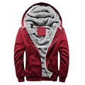 Free Shipping 2015 new men plus velvet hoodies Solid color Hooded coat Thick and warm Large size 4 colors 50yw
