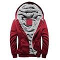 O Envio gratuito de 2015 novos homens hoodies além de veludo cor Sólida casaco Com Capuz Grosso e quente tamanho Grande 4 cores 50yw