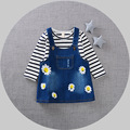 2017 Spring Long Sleeve Baby Party girls kids Children princess infants Striped t-shirt+ Chrysanthemum denim Dress Vestido S4674
