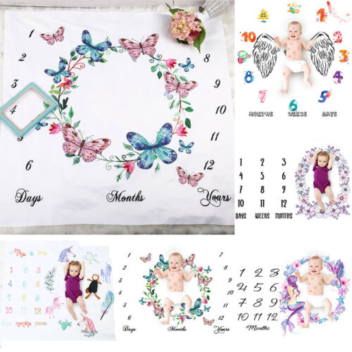 Cute Infant Baby Milestone Blanket Photo Photography Prop For Bebe Boy Girl Backdrop Cloth Calendar Stroller Cover Shoots Cloth