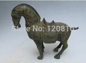 Rare Old Qing Dynasty Gilt bronze horse statue, Don horse,best collection&adornment, image