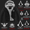 Top Quality Thick Warm Assasin Creed Winter Fleece Lined Coat Assassins Creed Hoodie Black Grey Syndicate,Unity,Rogue,Black Flag