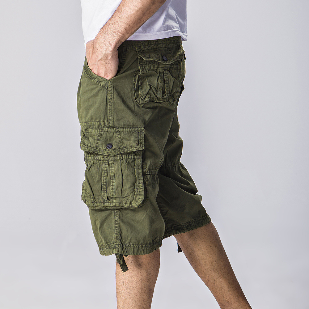 2017 Mens Baggy Multi Pocket Outdoors Spring&Summer Shorts Male Long Army Green Khaki Men Shorts no blet