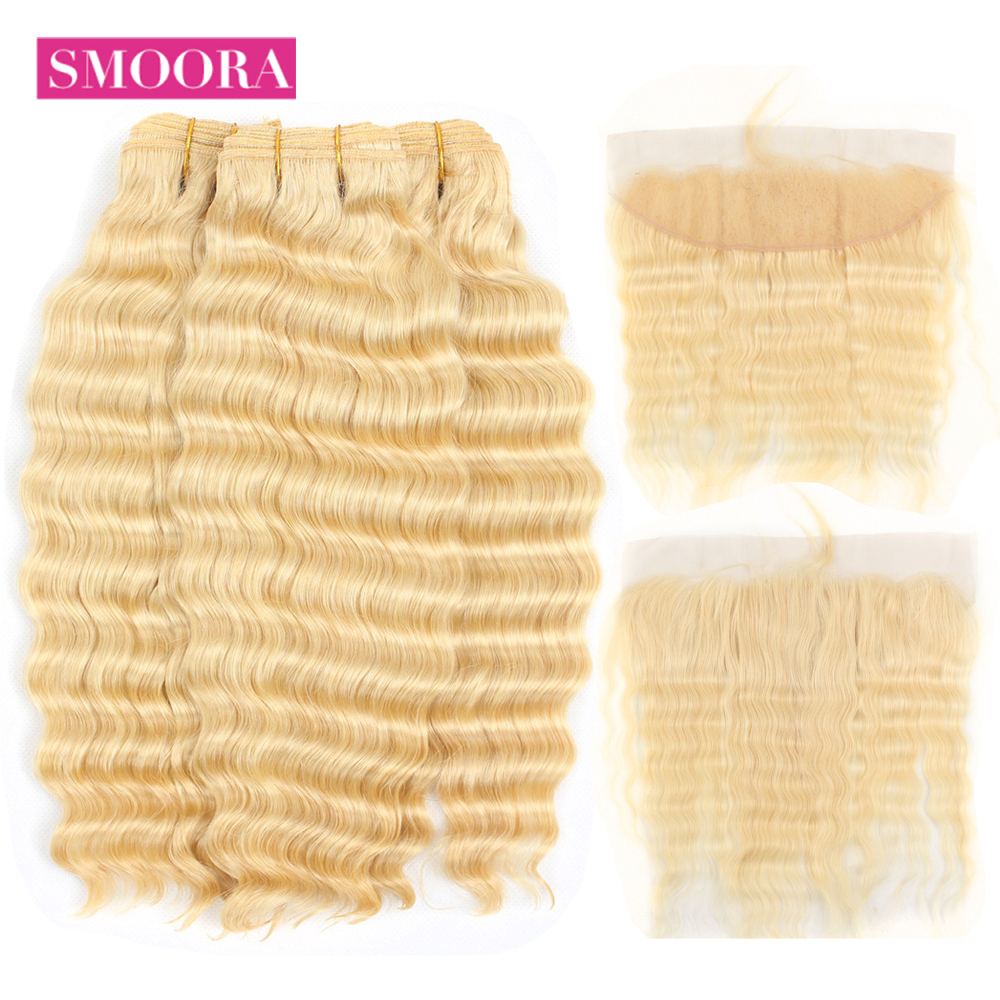 Smoora Brazilian 613 Blonde Deep Wave Human Hair Bundle with Lace Frontal Non Remy Light Blonde Bundles with Pre Plucked Frontal image