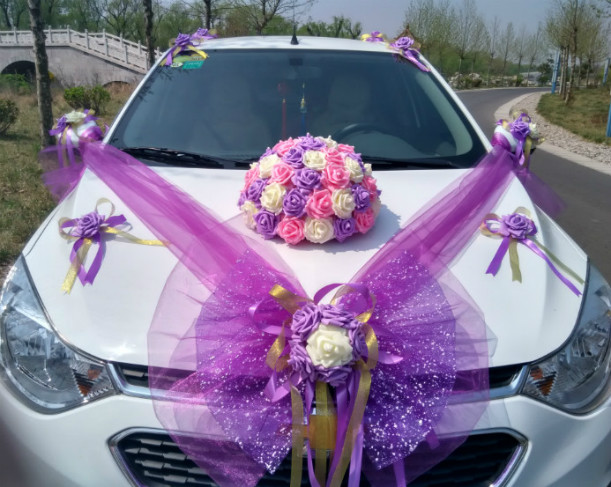 Wedding car decoration supplies line cheap white wedding car wedding junglespirit Gallery