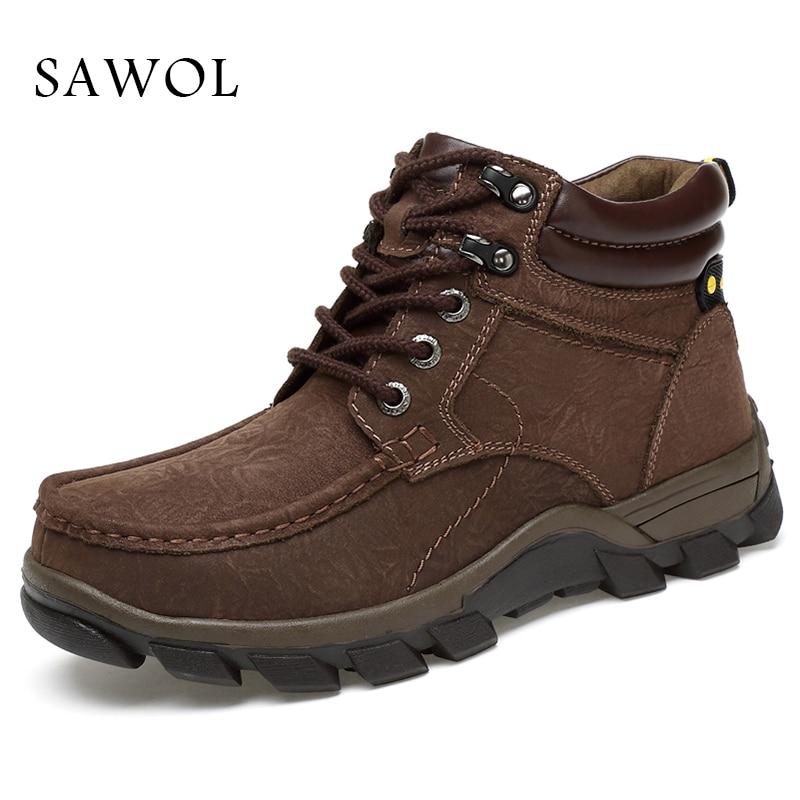 купить Genuine Leather Men Shoes Winter Boots Brand Casual Shoes Winter Shoes Men Flats Men Sneakers Plus Big Size 47 Slip On Sawol по цене 4212.1 рублей