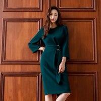 OL Style Dark Green O neck Slim Waist Women Dress Autumn Elegant Mid length Female Vestidos Work Business Women Party Dress