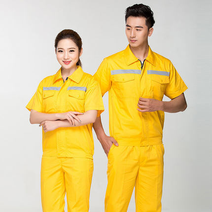 Summer Reflective Thin Work Clothing Sets Unisex Workwear Suits short Sleeve Jacket+Pants Working Factory Uniforms Repair Worker 3