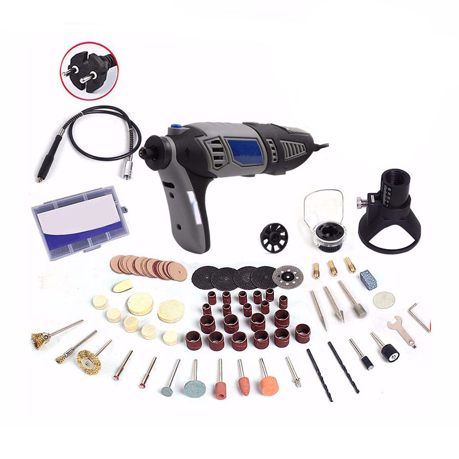 Hot Sale 220V 180W style Electric Rotary Power Tool Mini Drill with Flexible Shaft 132pcs Accessories Set Storage Bag EU Plug best price mgehr1212 2 slot cutter external grooving tool holder turning tool no insert hot sale brand new