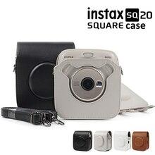 Para cámara fotográfica Fujifilm Instax SQUARE SQ10 SQ20 Instant Film, negro/Beige/marrón, bolsa de cuero de PU, funda con correa para el hombro