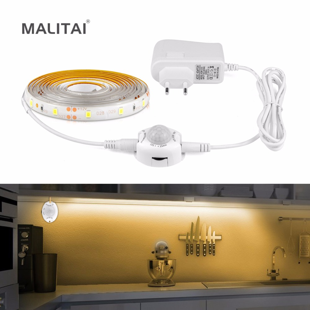 Motion Sensor LED Under Cabinet light Bed Night light 1M-5M LED Strip Tape Night Sensor lamp With 110V-220V to 12V Power Adapter crested woven nylon strap for fitbit alta band alta hr replacement band survival bracelet wristband watchband strap fitbit alta