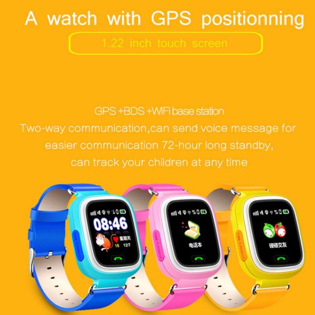 Q90 GPS niño reloj inteligente posición de teléfono niños reloj 1,22 pulgadas Color pantalla táctil WIFI SOS Smart Baby Watch Q50 q80 q60 reloj