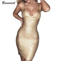 2018 New Women Gold Sliver Printing Sexy Bandage Dress Sleeveless Spaghetti Straps Vestidos De Fiesta Celebrity Mini Party Dress