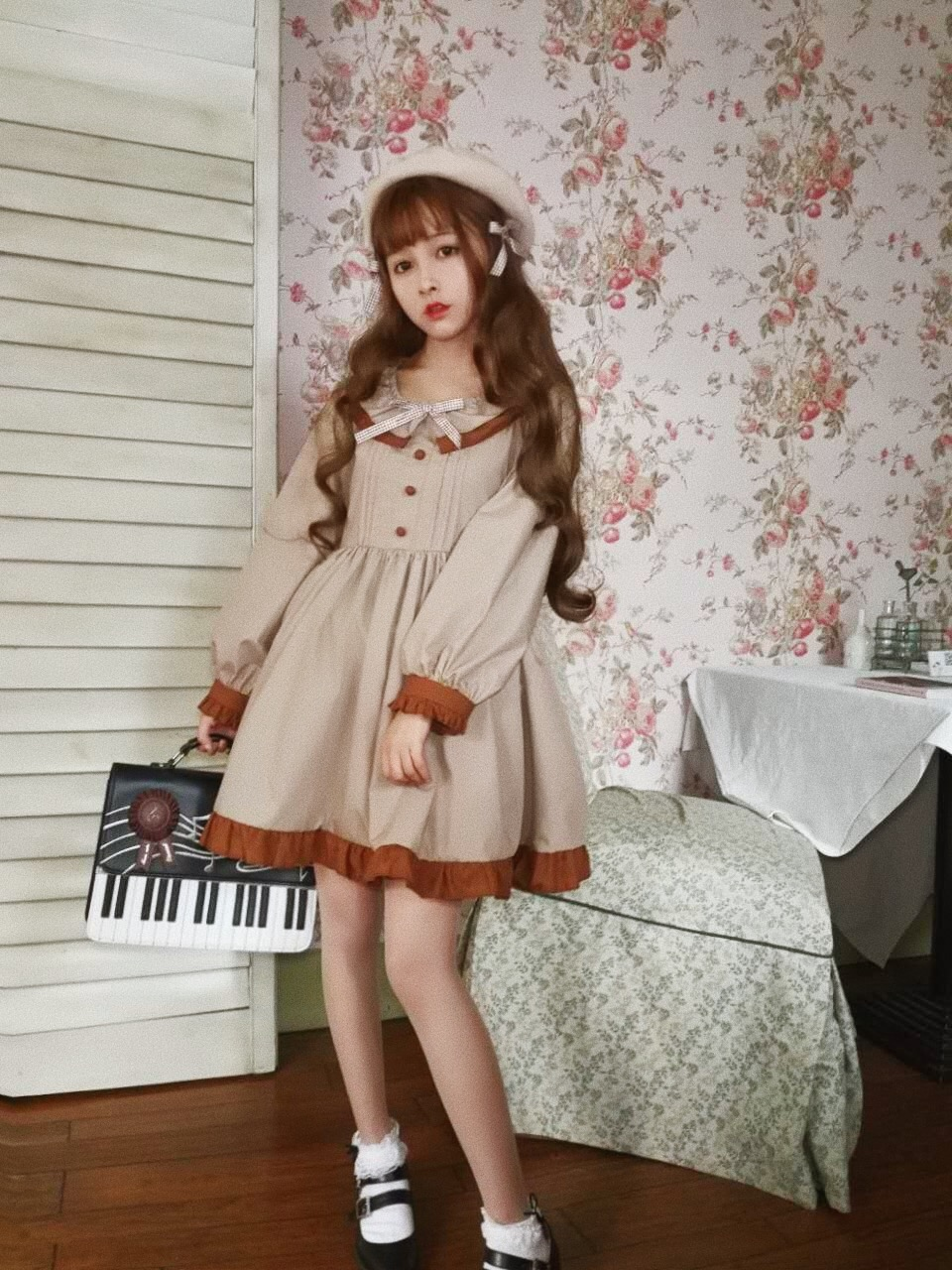 Japanese palace sweet lolita derss vintage o-neck bowknot victorian dress kawaii girl gothic lolita op loli cos