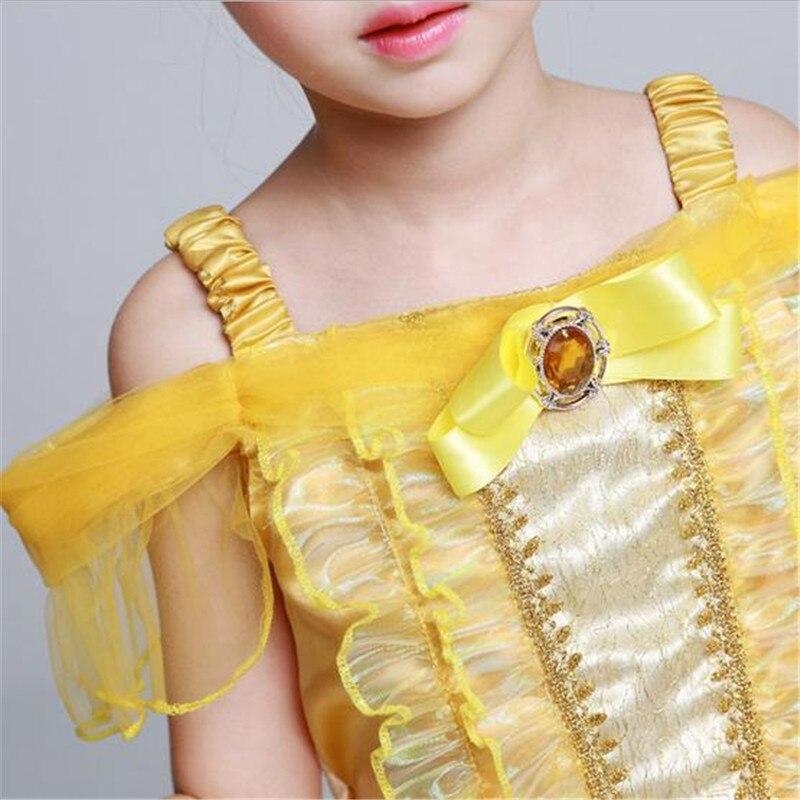 New Halloween Belle Princess Dress Gown Dress Babys Girls Children Princess Belle Costumes Kids Dresses Birthday Gift Clothing
