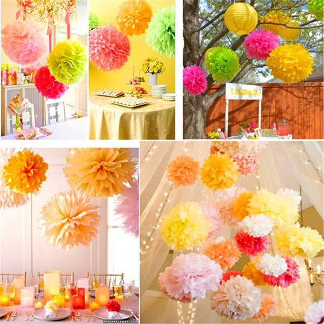 10 pcs Papel Tissue PomPom Bola Suprimentos Flor Decorativa Para O Casamento Partido Home Sala de Banquete Decoração Pompom Artesanato Produtos